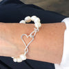 detail view of clasp on Sterling White Small Baroque Pearl Bracelet with Heart Clasp by Judie Raiford