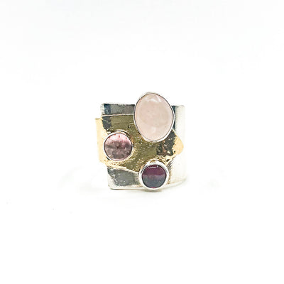 size 9.5 Sterling & 24k Crotch Hugger Ring with Pink Quartz, Pink Tourmaline, and Garnet by Judie Raiford