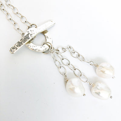 Dale 3-Pearl Lariat Necklace with white pearls by Judie Raiford