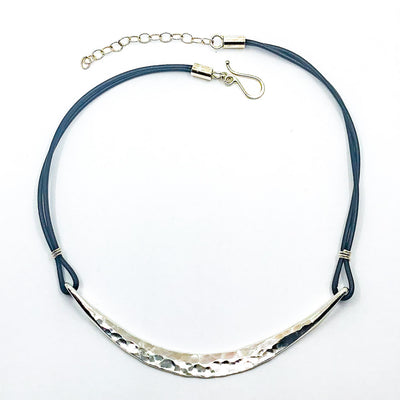 Sterling Half Naught Necklace with Leather Cord by Judie Raiford