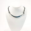 Sterling Half Naught Necklace with Leather Cord by Judie Raiford displayed on white mannequin bust