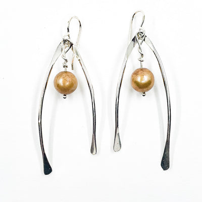 Sterling Wishbone Earrings with Champagne Pearls by Judie Raiford