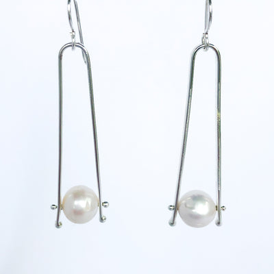 Long Tic Toc Earrings with Pearls
