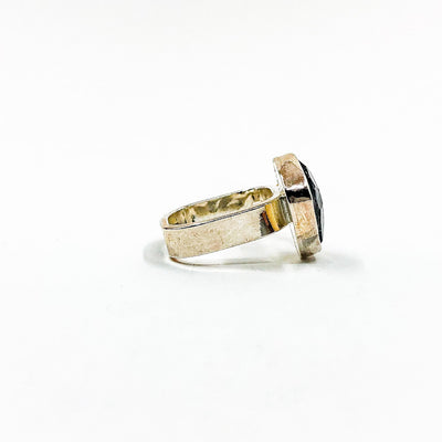 right side view of size 8 Sterling and 14k Rose Cut Tourmalated Quartz Ring with Diamond by Judie Raiford