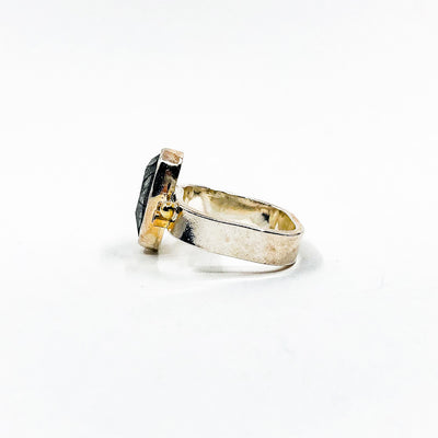 left side view of size 8 Sterling and 14k Rose Cut Tourmalated Quartz Ring with Diamond by Judie Raiford