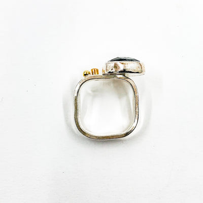 over top view of size 8 Sterling and 14k Rose Cut Tourmalated Quartz Ring with Diamond by Judie Raiford