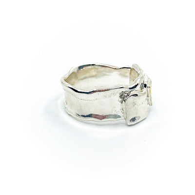 right side view of size 10.5 Men's Sterling and 22k Anticlastic Deckled Band Ring by Judie Raiford