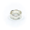 back side view of size 10.5 Men's Sterling and 22k Anticlastic Deckled Band Ring by Judie Raiford