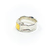 left side view of size 10.5 Men's Sterling and 22k Anticlastic Deckled Band Ring by Judie Raiford