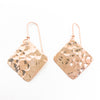 14k Rose Gold Ball Pein Square Earrings by Judie Raiford