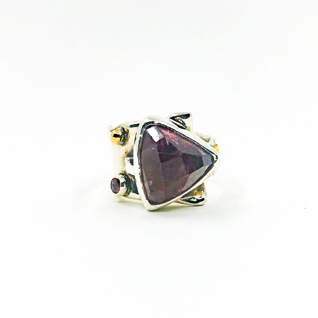 size 8.5 Sterling & 24k Strawberry Quartz Ring with Rose Cut Tourmaline by Judie Raiford