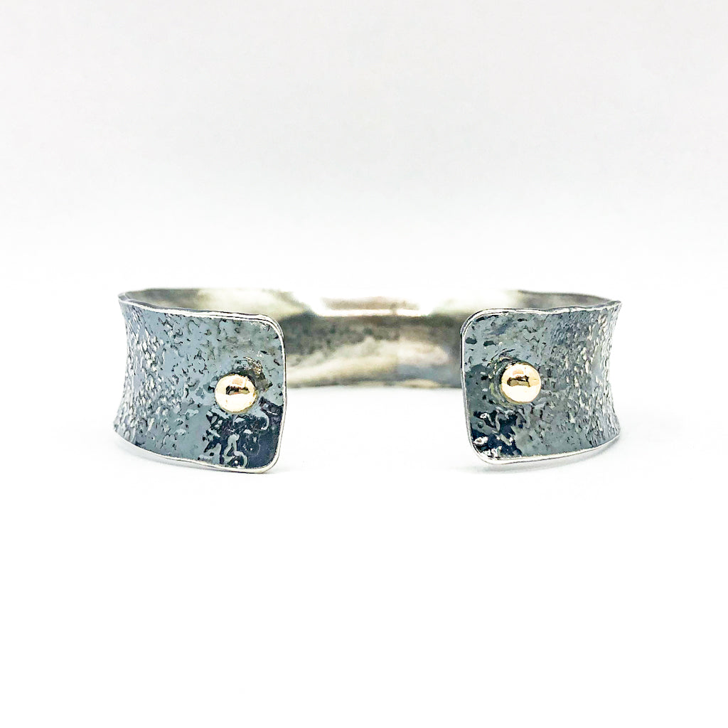 "back side view of 3/4"" Mom's Hammer Oxidized Sterling Anticlastic Cuff with 14k Gold Balls by Judie Raiford"