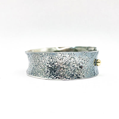 "right side view of 3/4"" Mom's Hammer Oxidized Sterling Anticlastic Cuff with 14k Gold Balls by Judie Raiford"