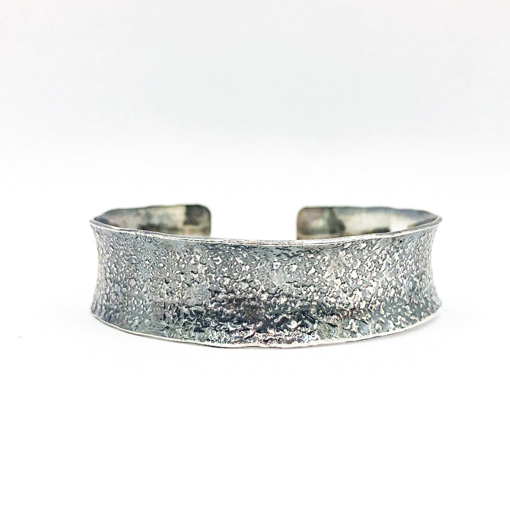 "3/4"" Mom's Hammer Oxidized Sterling Anticlastic Cuff with 14k Gold Balls by Judie Raiford"