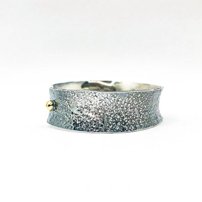 "left side view of 3/4"" Mom's Hammer Oxidized Sterling Anticlastic Cuff with 14k Gold Balls by Judie Raiford"