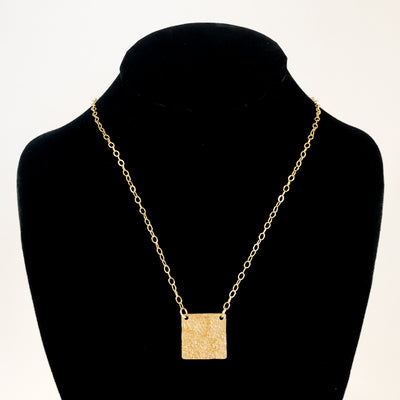 14k Gold Filled Mom's Hammer Square Necklace by Judie Raiford displayed on black mannequin bust