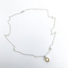 Flat view of Water Drop Pearl Necklace by Judie Raiford