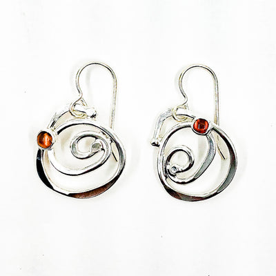 Sterling Mini Spiral Earrings with Citrine by Judie Raiford