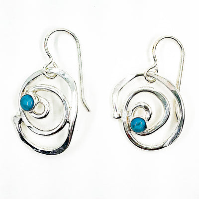 Sterling Mini Spiral Earrings with Turquoise by Judie Raiford