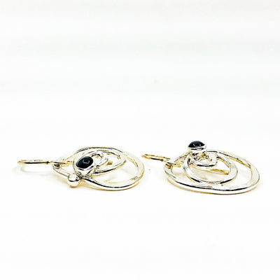 side angle view of Sterling Mini Spiral Earrings with Black Onyx by Judie Raiford
