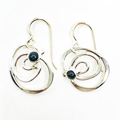 Sterling Touch of Mini Spiral Earrings with Black Onyx by Judie Raiford