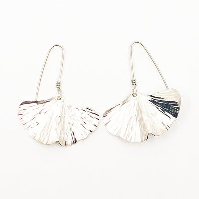 Large Sterling Ginkgo Earrings by Judie Raiford