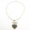 Labradorite Pendant on 3 Blade Setting on Strand of Blush Teardrop Pearls by Judie Raiford