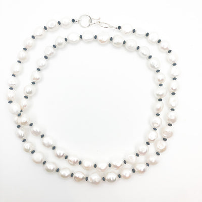Sterling Large White Baroque Pearl Necklace with Sandblasted Black Onyx by Judie Raiford