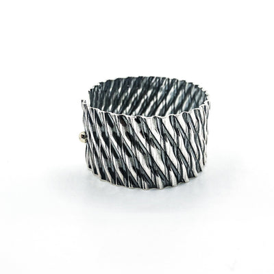 Oxidized Sterling and 14k Double Corrugated Kate Cuff