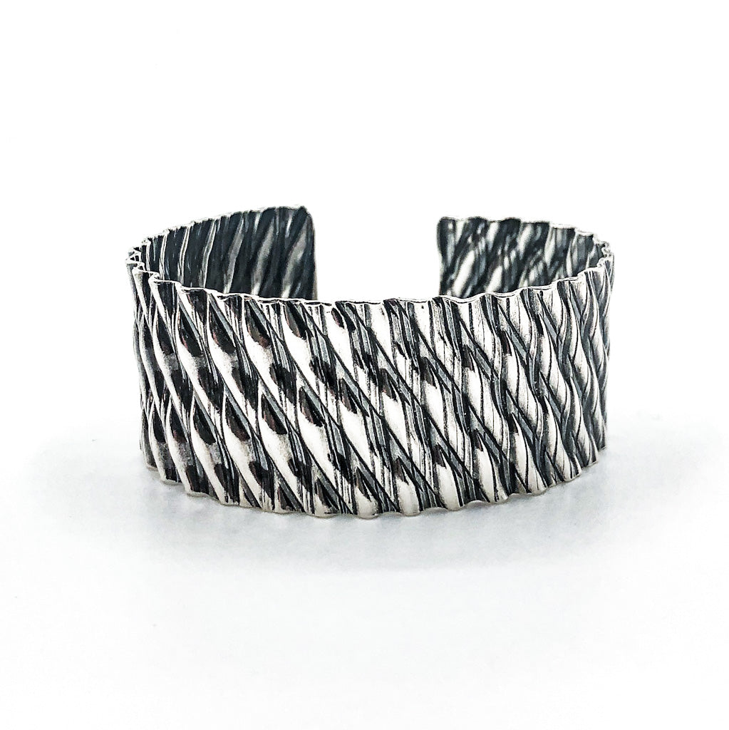 Oxidized Sterling and 24k Double Corrugated Kate Cuff