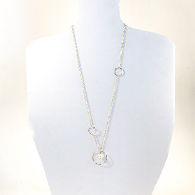Long Circle Lariat Necklace with White Pearl