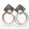 Oxidized Sterling Square Top Slinky Post Earrings by Judie Raiford