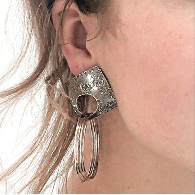 model wearing Oxidized Sterling Square Top Slinky Post Earrings by Judie Raiford
