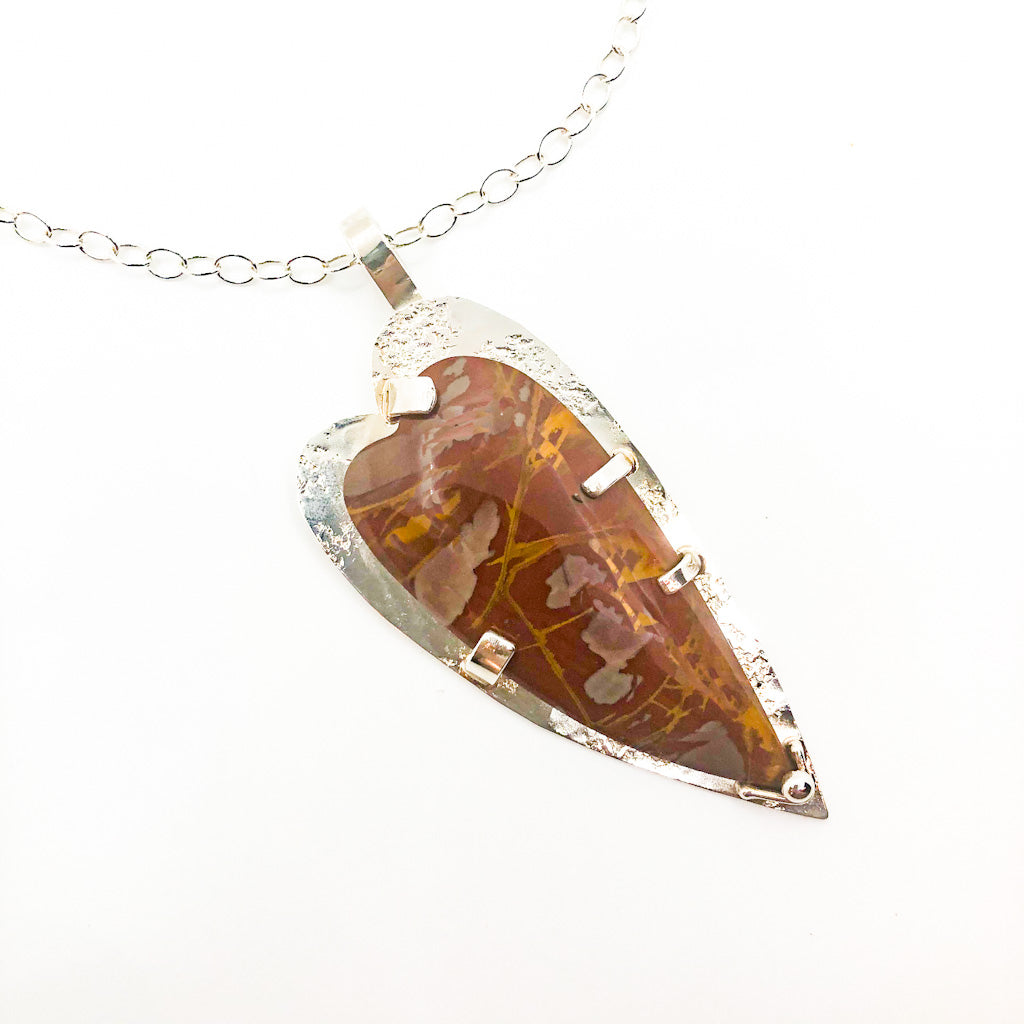pendant detail view of Sterling Big Jasper Heart Pendant Necklace by Judie Raiford
