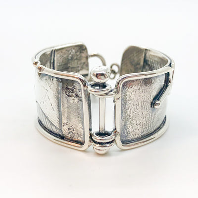 side pin view of sterling silver and 24k gold Flashed and Fused Bracelet by Judie Raiford