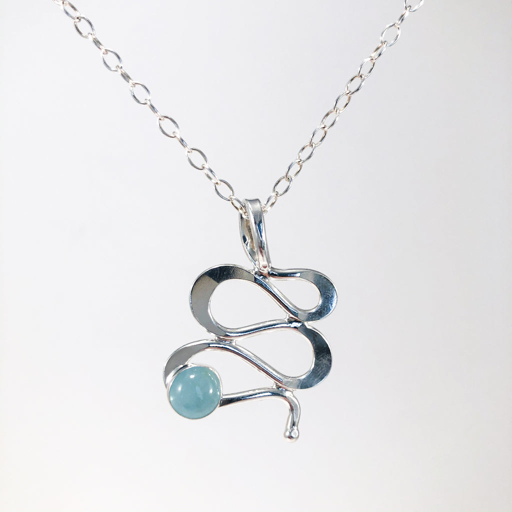Sterling Touch of Romance Necklace with Aquamarine