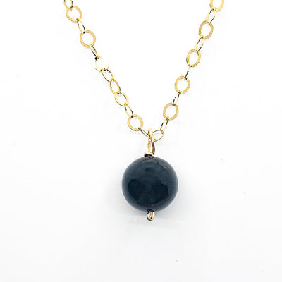detail view of Black Onyx and 14k Gold Filled Necklace by Judie Raiford