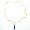 Faceted Tear Drop Black Onyx on 14k Gold Chain by Judie Raiford