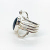 left side view of Sterling Wrap Ring with Oval Black Onyx by Judie Raiford
