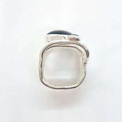 over head view of eft side view of Sterling Wrap Ring with Oval Black Onyx by Judie Raiford