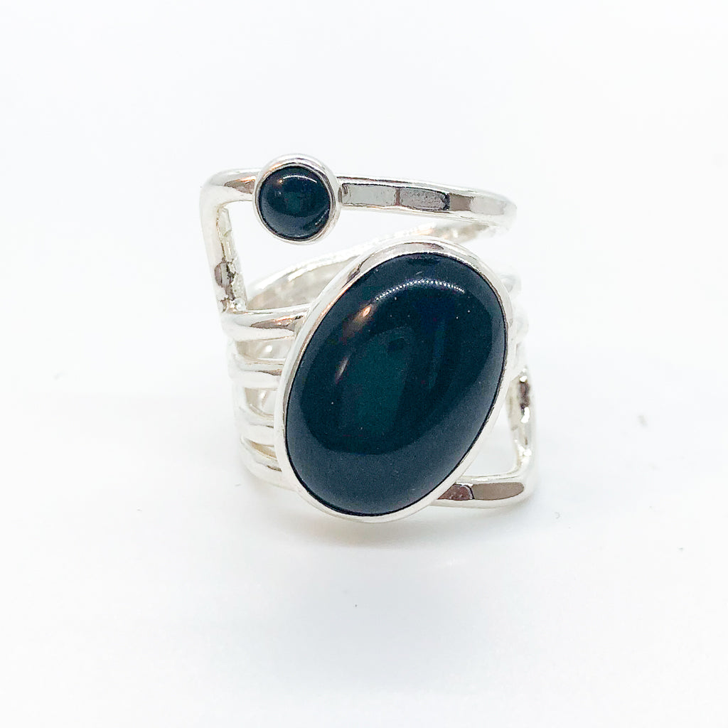Sterling Wrap Ring with Oval Black Onyx by Judie Raiford