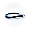 right side view of Men's Sterling and Black Leather Bracelet by Judie Raiford