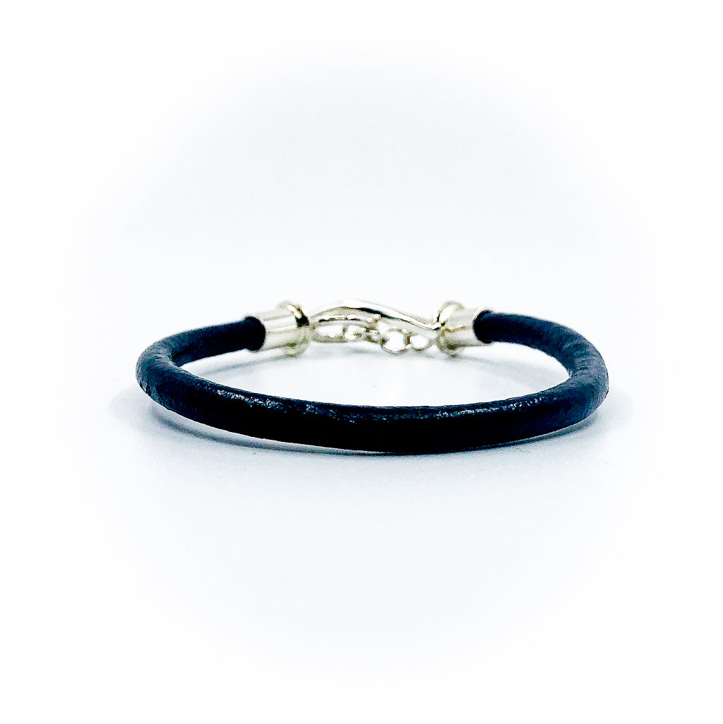 Men's Sterling and Black Leather Bracelet by Judie Raiford