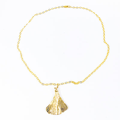 flat lay view of 14k Gold Filled Ginkgo Necklace by Judie Raiford