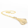 side angle view of 14k Gold Filled Ginkgo Necklace by Judie Raiford