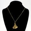 14k Gold Filled Ginkgo Necklace by Judie Raiford on black mannequin bust