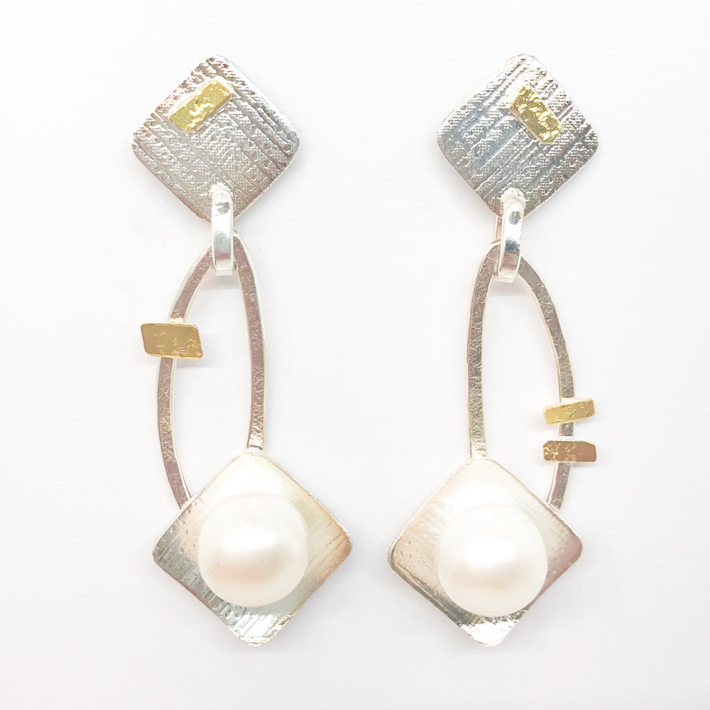 Sterling and 24k Square Tip Big White Pearl Earrings by Judie Raiford