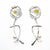 Sterling silver and 24k gold Asian Graphic Earrings with white Pearls by Judie Raiford