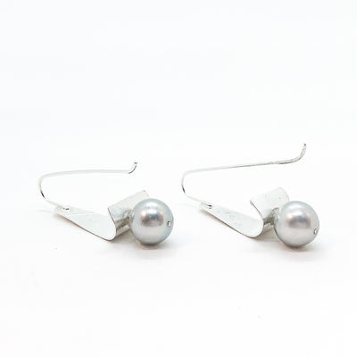 back view of Sterling Tri Tuck Earrings with Gray Baroque Pearl by Judie Raiford