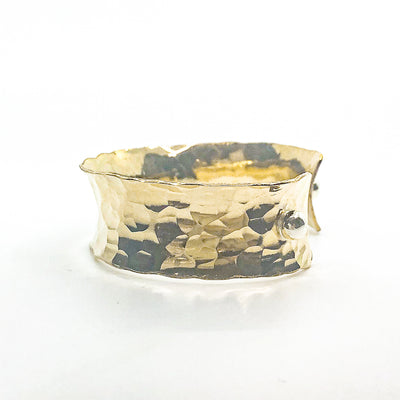 "left side view of 3/4"" 14k Gold Filled 3/4"" Ball Pein Anticlastic Cuff by Judie Raiford"